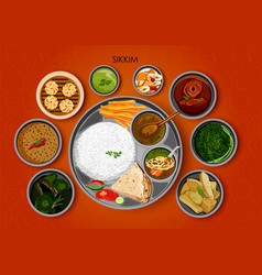Traditional cuisine and food meal thali of sikkim vector