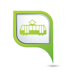 tram icon on green map pointer vector image vector image