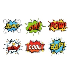 Emotions for comics speech like bang and cool vector