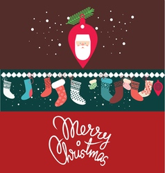 christmas post card with santa vector image