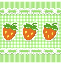 Green checked pattern with strawberry vector