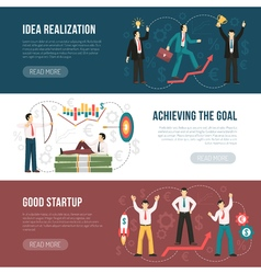 Successful startup flat horizontal banners set vector