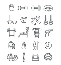 Weightlifting flat thin lines icons set vector