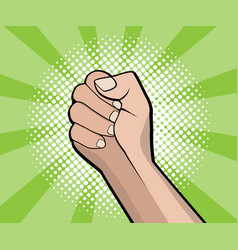 Hand fist revolution pop art comic book background vector