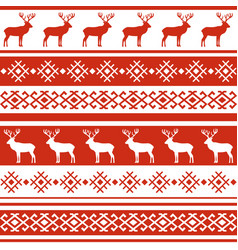 Ethnic nordic pattern with deer vector