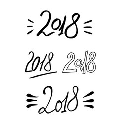 2018 new year calligraphy phrase set handwritten vector image