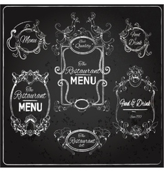 Restaurant labels chalkboard vector