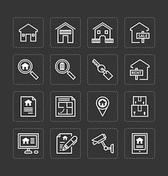 Flat icons set of real estate property outline vector