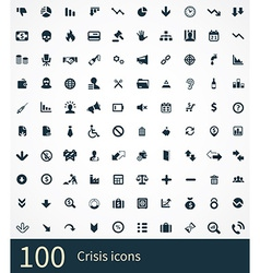 100 crisis icons vector