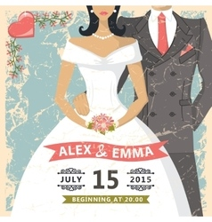 Retro wedding invitationbride groom decor vector