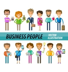 Business people on a white background a set of vector