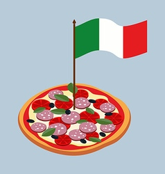 Pizza with flag of italy italian national food vector