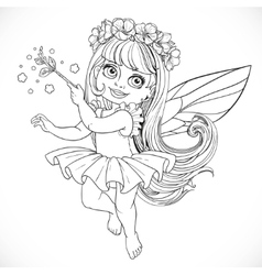 Cute little spring fairy girl in tutu with magic vector
