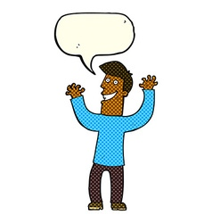 Cartoon excited man with speech bubble vector
