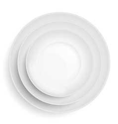 Three white plates stacked on top of each other vector