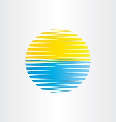 Sun and sea water abstract background icon vector