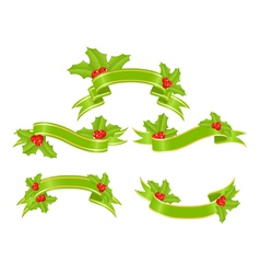 banners with holly vector image