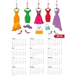 Calendar 2016 yearsummer dressesaccessories vector