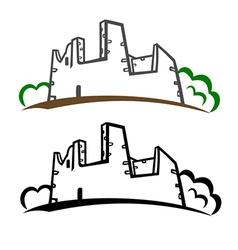 Castle ruins symbol vector image