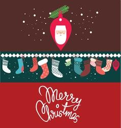 christmas post card with santa vector image