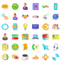 Connect internet icons set cartoon style vector