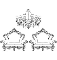 exquisite fabulous imperial baroque armchair in vector image vector image