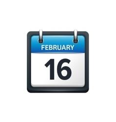 February 16 calendar icon vector