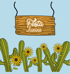 Festa junina with cactuses and sunflowers vector