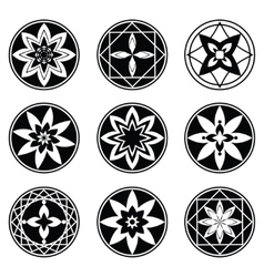Floral mandala tattoo set four and eight rays vector