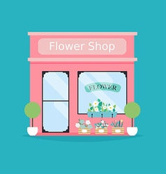 Flower shop facade of flower shop building vector