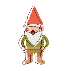 gnome with costume in watercolor silhouette vector image