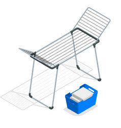 isometric empty cloth drying rack and laundry vector image