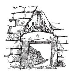 Lion gate at mycenae entrance through the circuit vector