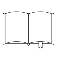 Open book with bookmark icon outline style vector