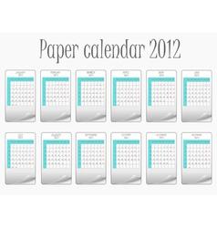 paper calendar 2012 vector image