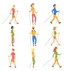 People doing nordic walk outdoors set of vector