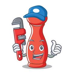 Plumber pepper mill character cartoon vector