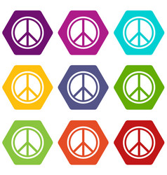 sign hippie peace icon set color hexahedron vector image