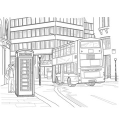 sketch of london street vector image vector image