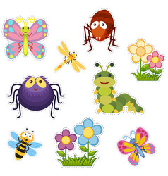 sticker design with bugs and insects vector image vector image