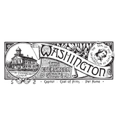 The state banner of washington the evergreen vector