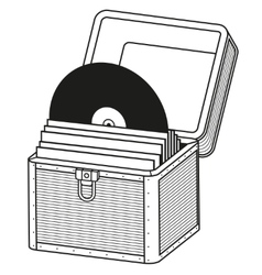 Vinyl storage case outline vector image