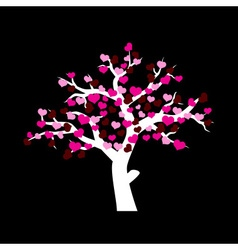 white winter tree with various red and pink hearts vector image
