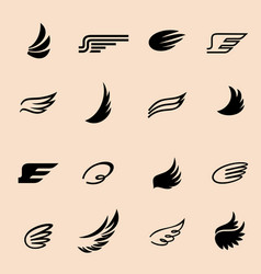 wings icons set 4 vector image