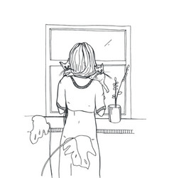 Woman with cats standing near the window hand vector