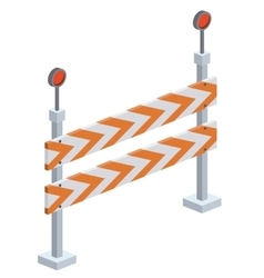 Fence construction sign isometric icon vector