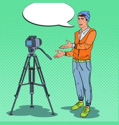 Stylish guy vlogger recording video pop art vector