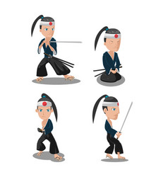 Young japan samurai cartoon character vector