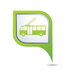 Trolleybus icon on green map pointer vector