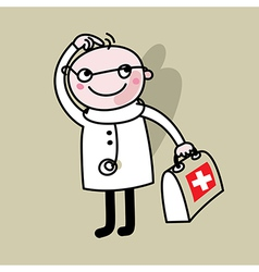 Doctor with suitcase in hands vector